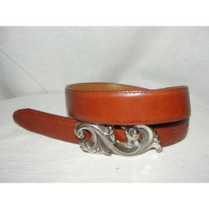 Brown Leather Belt w/Ornate Silver Buckle 1995 M